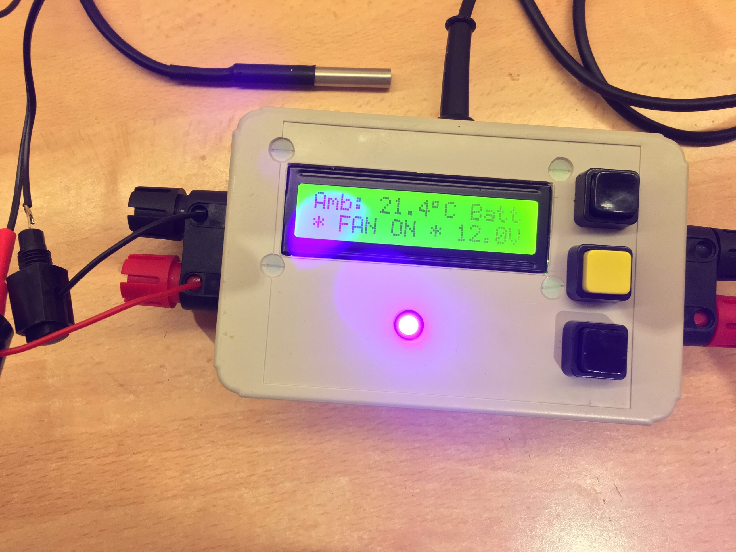 Temperature Switch for 12 V DC fan — powered from solar battery bank