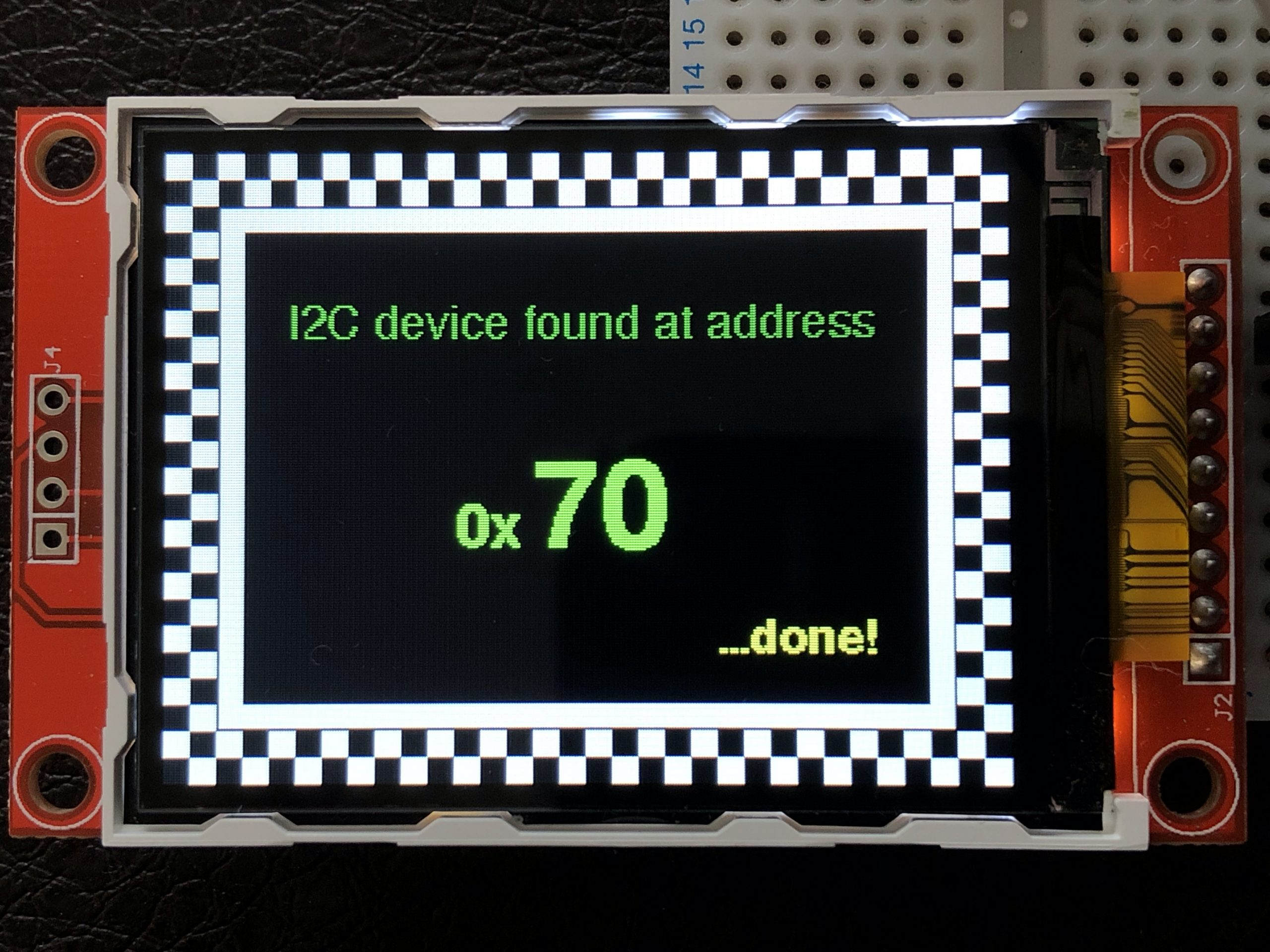 Close up of IIC scanner's screen.